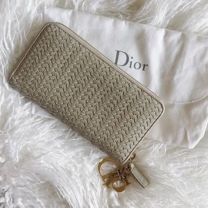 "Dior ""Lady Dior"" Woven Leather Clutch Wallet Nude"